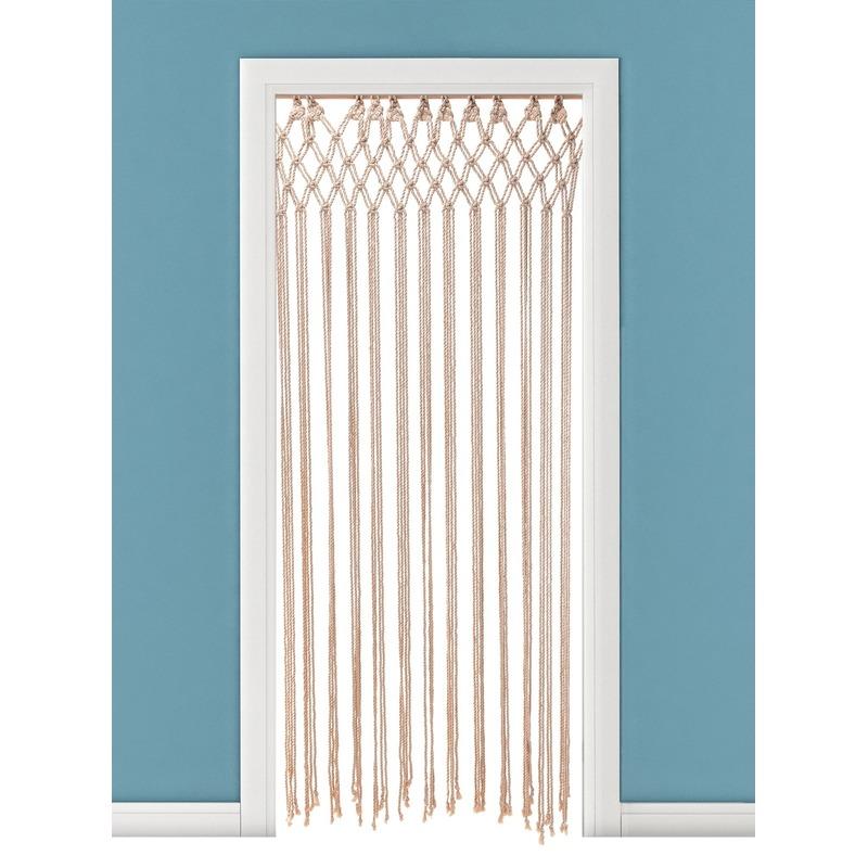 Katoenen deurgordijn macrame naturel 90 x 180 cm