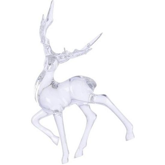 Kerst hangdecoratie doorzichtig lopend hertje 14 cm