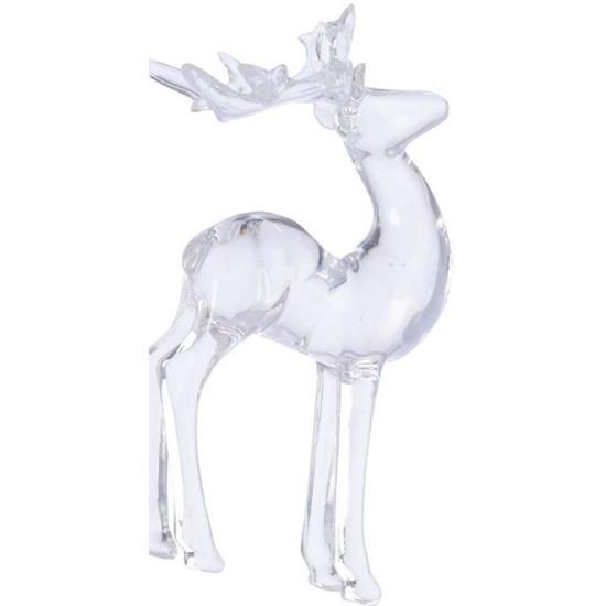 Kerst hangdecoratie doorzichtig staand hertje 13 cm