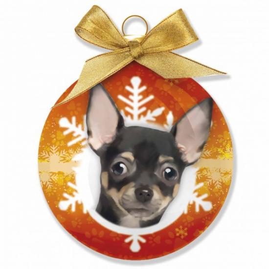 Kerstbal Chihuahua 8 cm