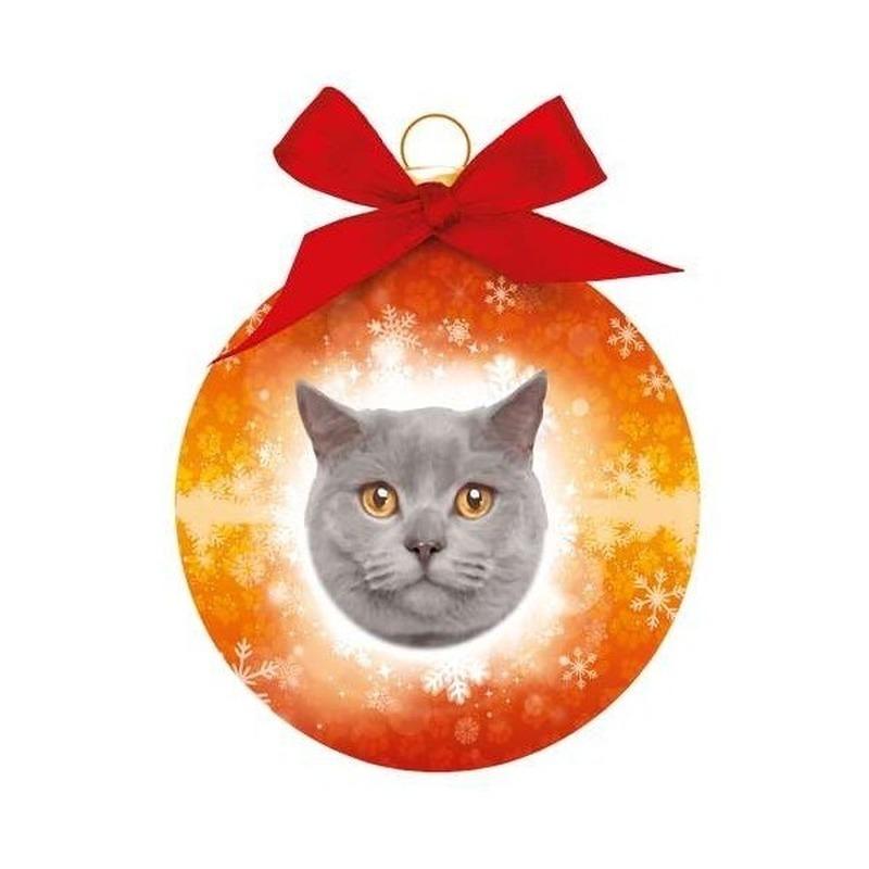 Kerstbal grijze kat/poes Britse korthaar 8 cm