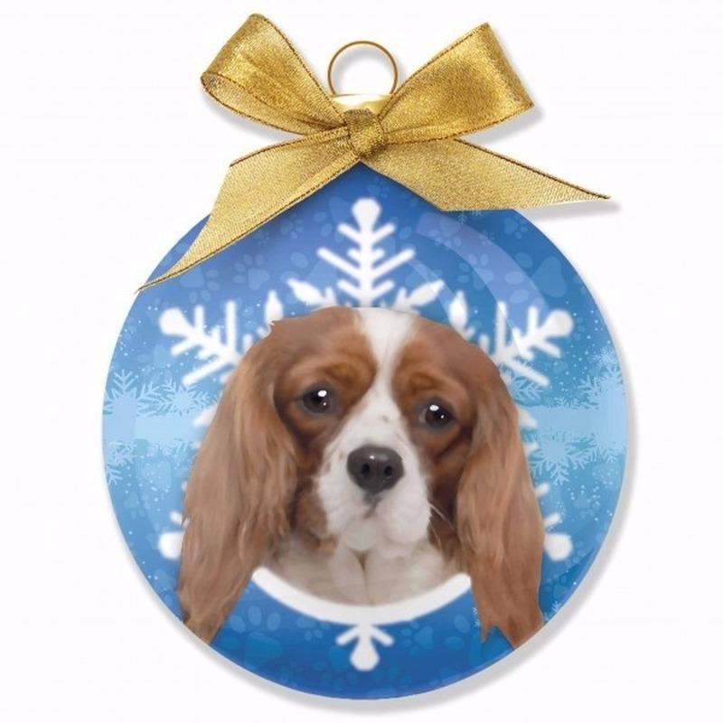 Kerstbal hond Cavalier 8 cm