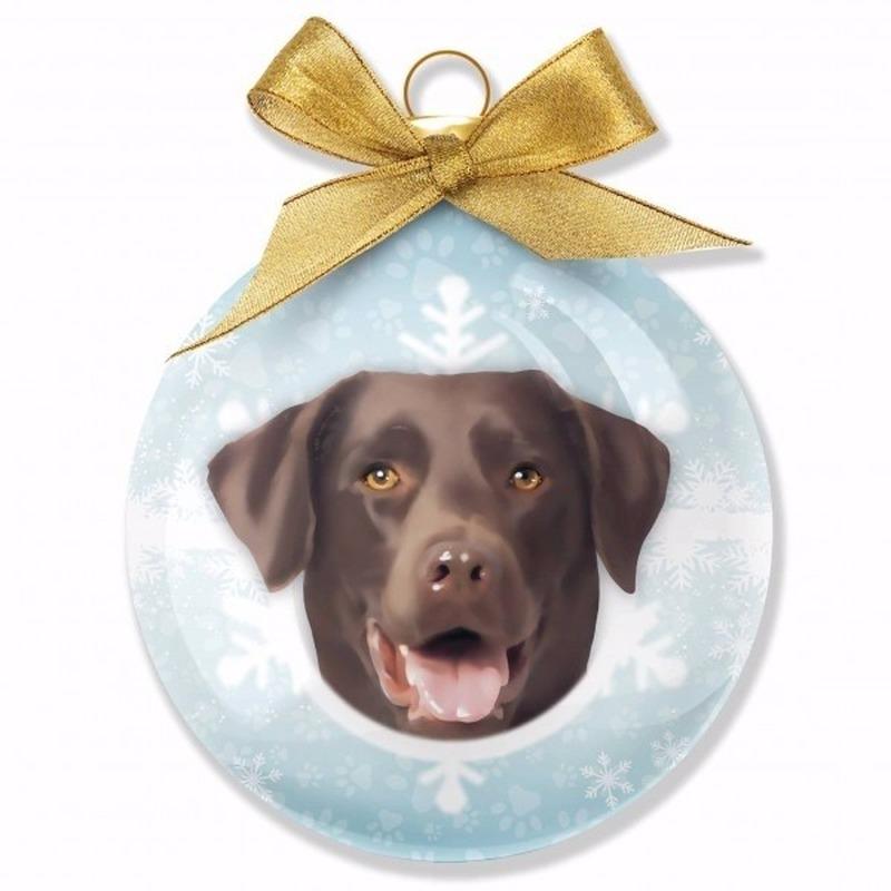 Kerstbal hond Labrador Chocolate 8 cm