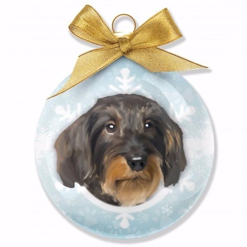 Kerstbal hond Teckel 8 cm