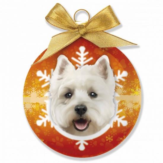 Kerstbal West Highland Terrier 8 cm