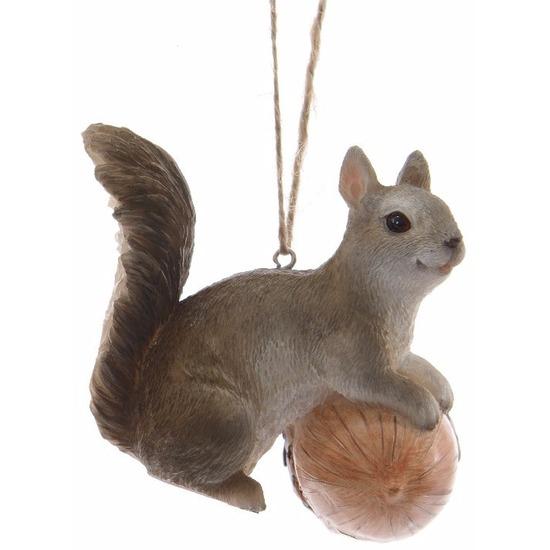 Kerstboomdecoratie hanger grijs eekhoorntje 7 cm