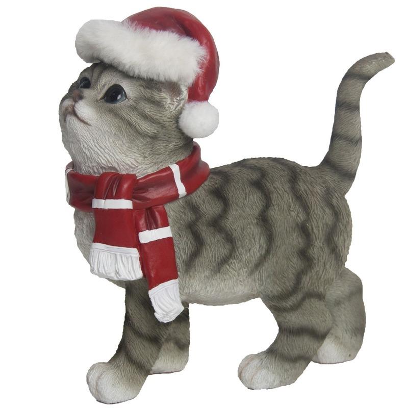 Afbeelding Kerstdecoratie grijze poes met kerstmuts en sjaal door Animals Giftshop