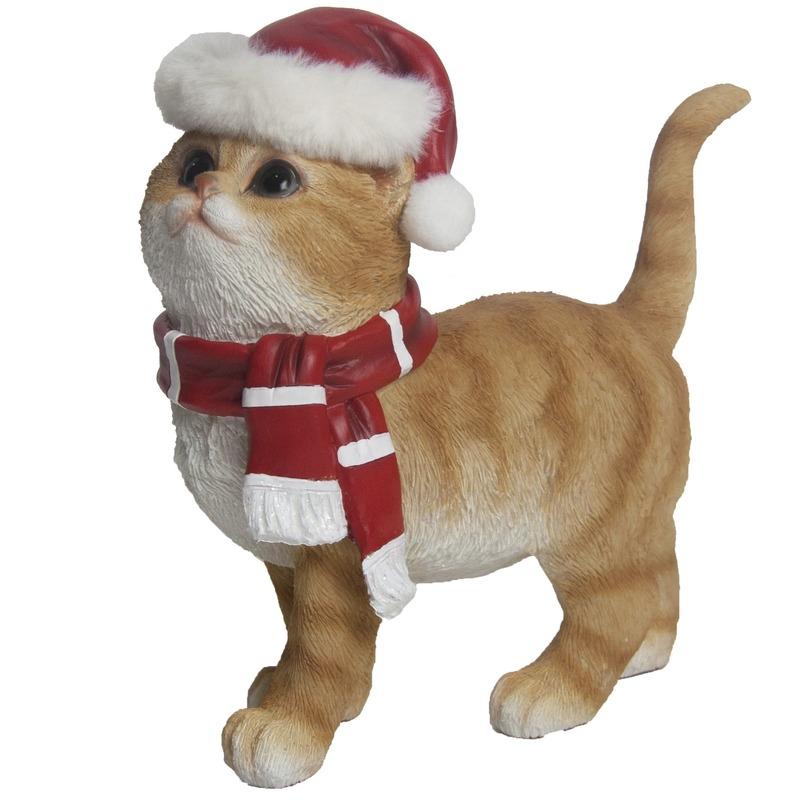 Kerstdecoratie rode poes met kerstmuts en sjaal