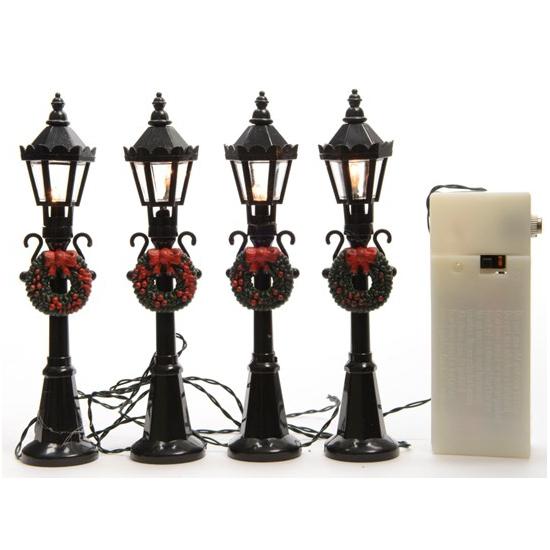 Kerstdorp straatlantaarns/lantaarnpaaltjes met verlichting