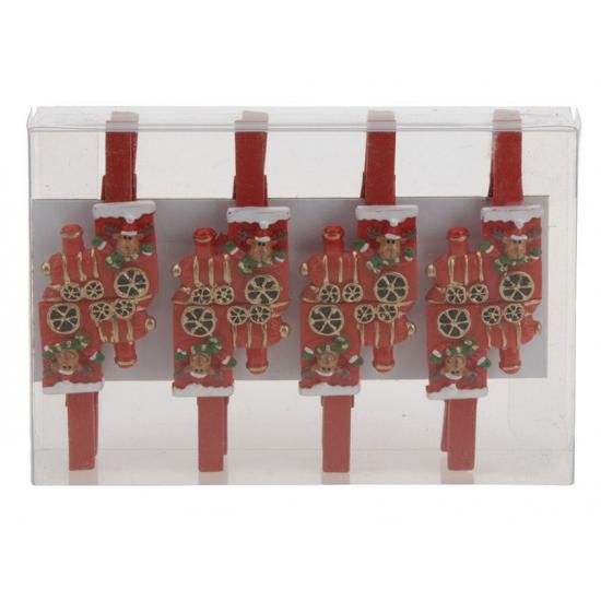 Kerstknijpertjes rendier in trein 8 stuks