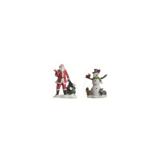 Kerstman en sneeuwpop met hoed 6,5 cm