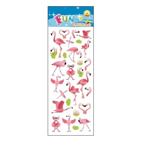 Kinder stickers roze flamingo