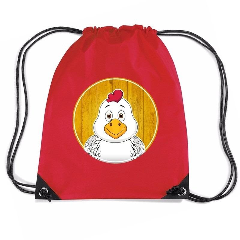 Kip dieren trekkoord rugzak - gymtas rood voor kinderen