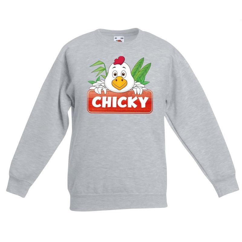 Kippen dieren sweater grijs voor kinderen