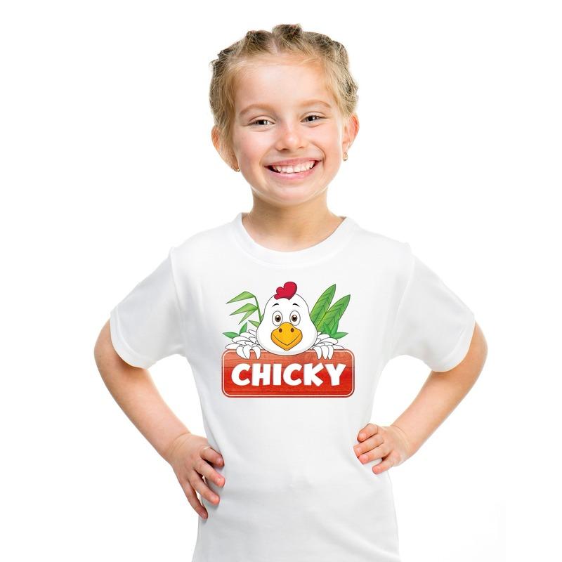 Kippen dieren t-shirt wit voor kinderen