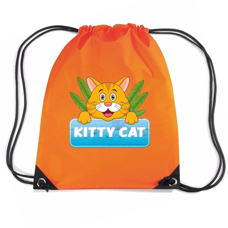 Kitty Cat poezen trekkoord rugzak - gymtas oranje voor kinderen