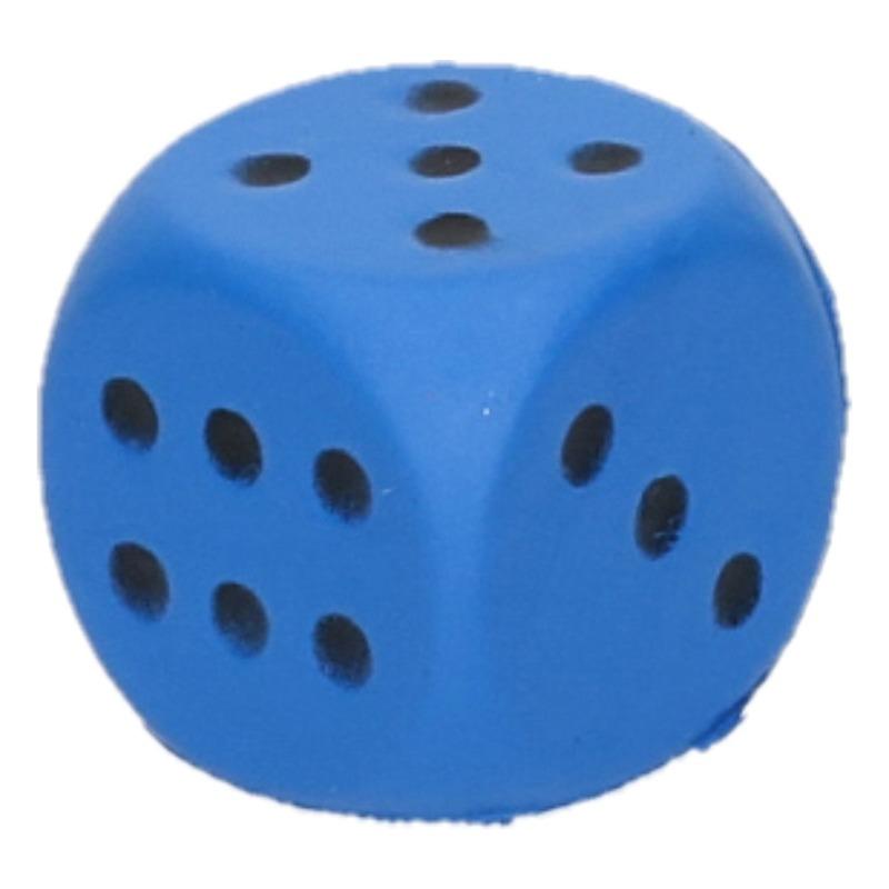 Kleine schuimrubberen dobbelstenen blauw 1 stuk