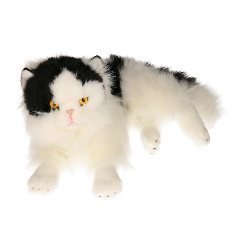 Knuffel kat zwart/wit van 35 cm