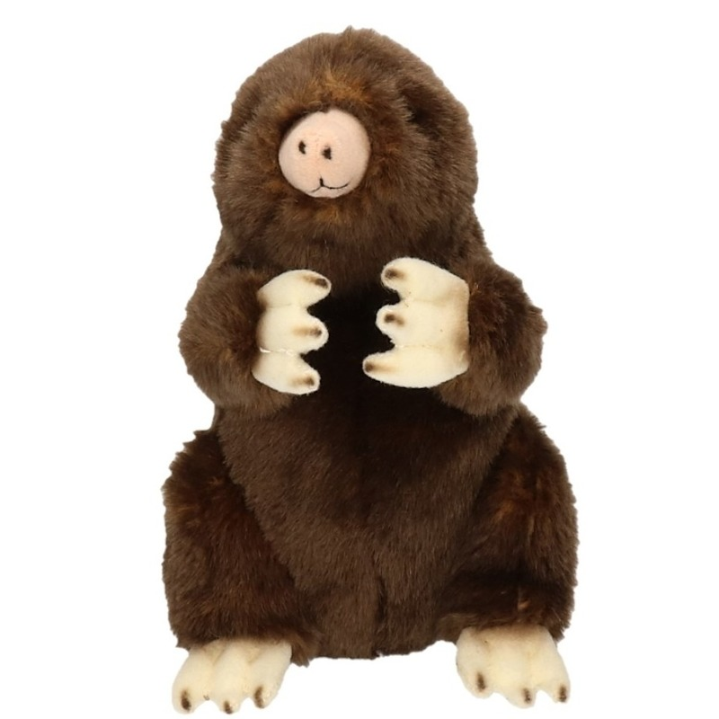 Knuffel mol bruin 21 cm