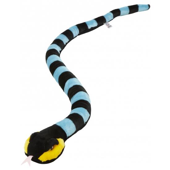 Knuffel slang zwart met blauw 152 cm
