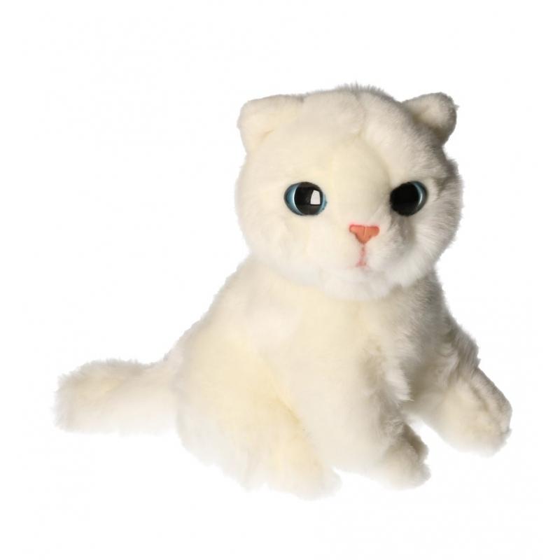 Knuffel witte kat van 20 cm
