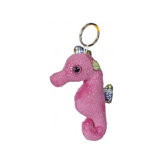 Knuffel zeepaardje met glitters 10 cm