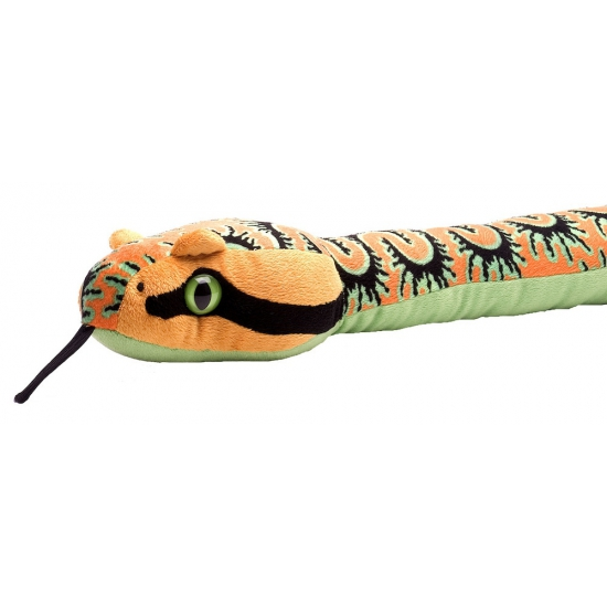 Knuffeldier oranje slang 137 cm