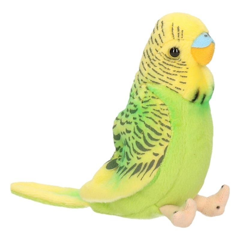 Afbeelding Knuffeldier vogel Grasparkiet groen 11 cm door Animals Giftshop