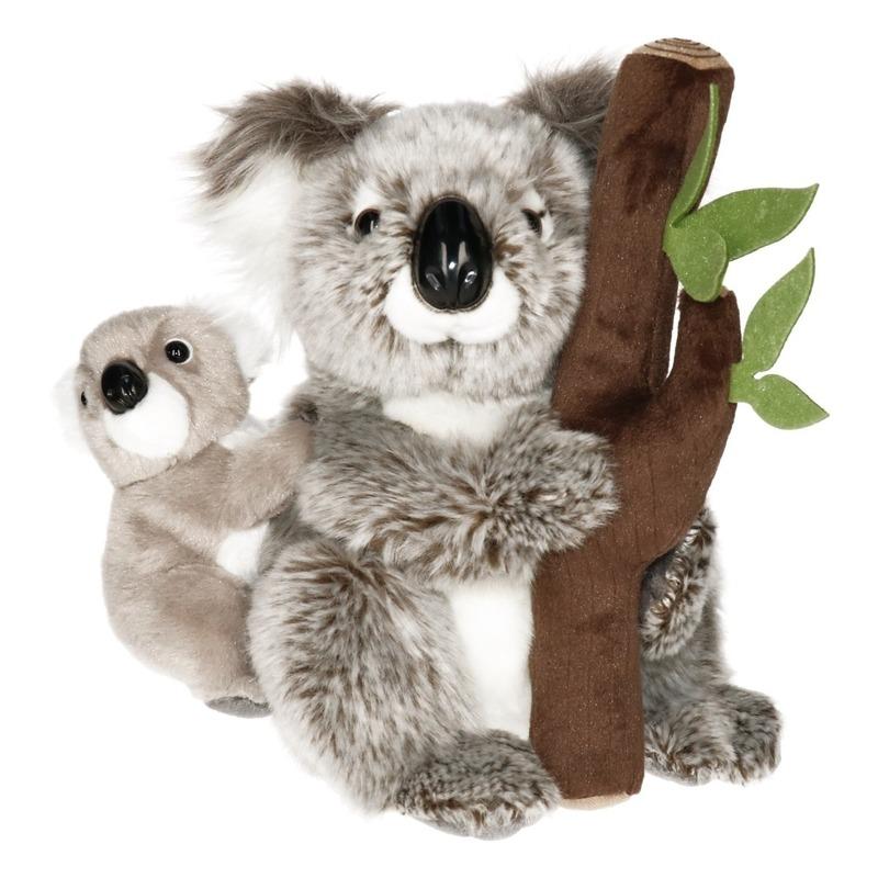 Koala beren knuffel met baby en boomstam 25 cm