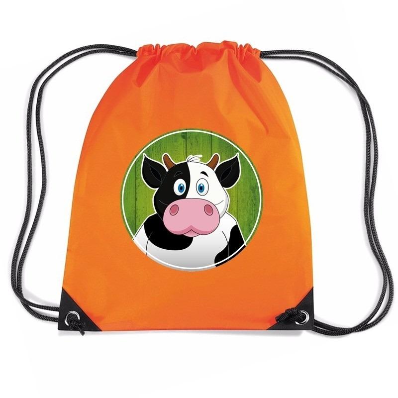 Koe dieren trekkoord rugzak - gymtas oranje voor kinderen