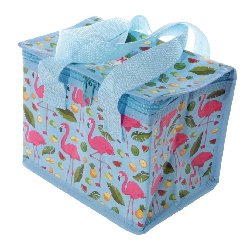 Afbeelding Koelbox/koeltas flamingo print blauw voor 6 blikjes door Animals Giftshop