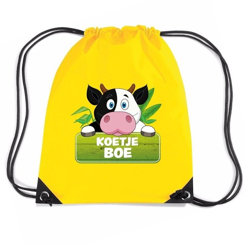 Koetje Boe koeien trekkoord rugzak - gymtas geel voor kinderen