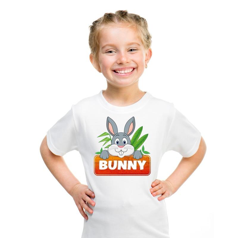 Konijnen dieren t-shirt wit voor kinderen