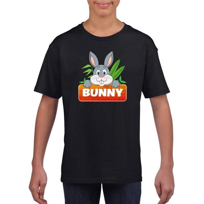 Konijnen dieren t-shirt zwart voor kinderen