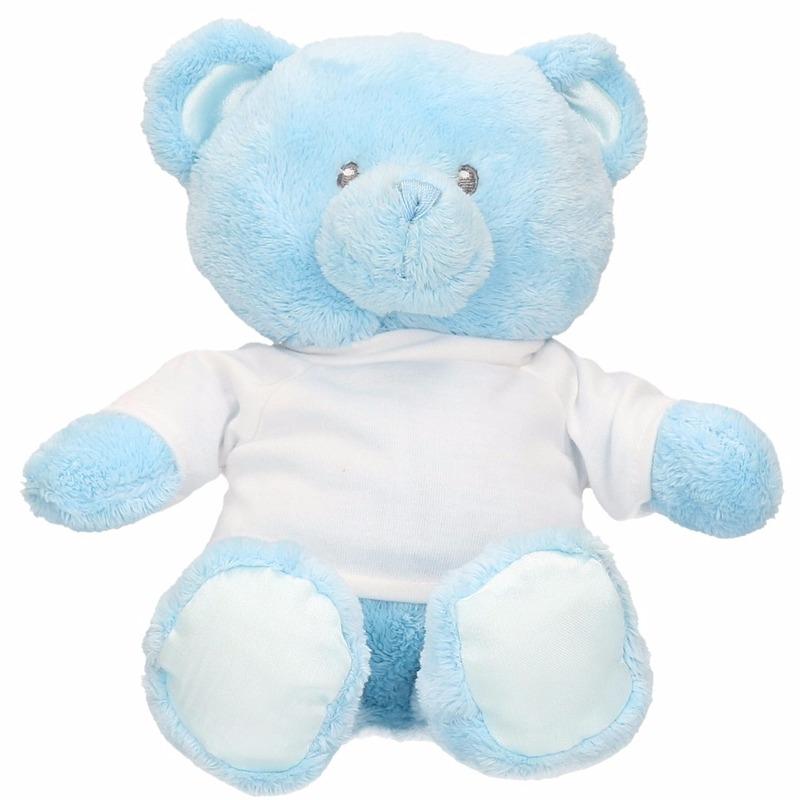 Kraamcadeau blauwe knuffelbeer 15 cm met shirt