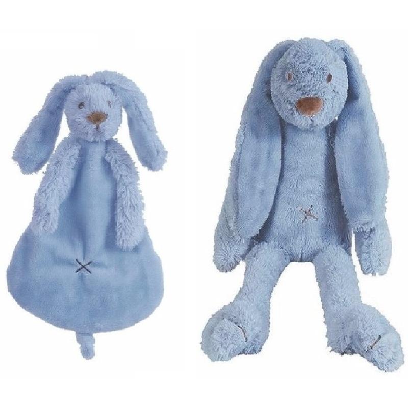 Kraamcadeau Rabbit Ritchie donker blauw Happy Horse knuffeldoekje en knuffel konijntje