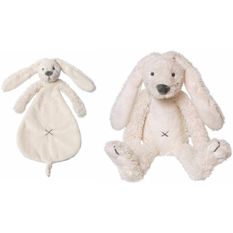 Kraamcadeau Rabbit Ritchie ivoor wit Happy Horse knuffeldoekje en knuffel konijntje