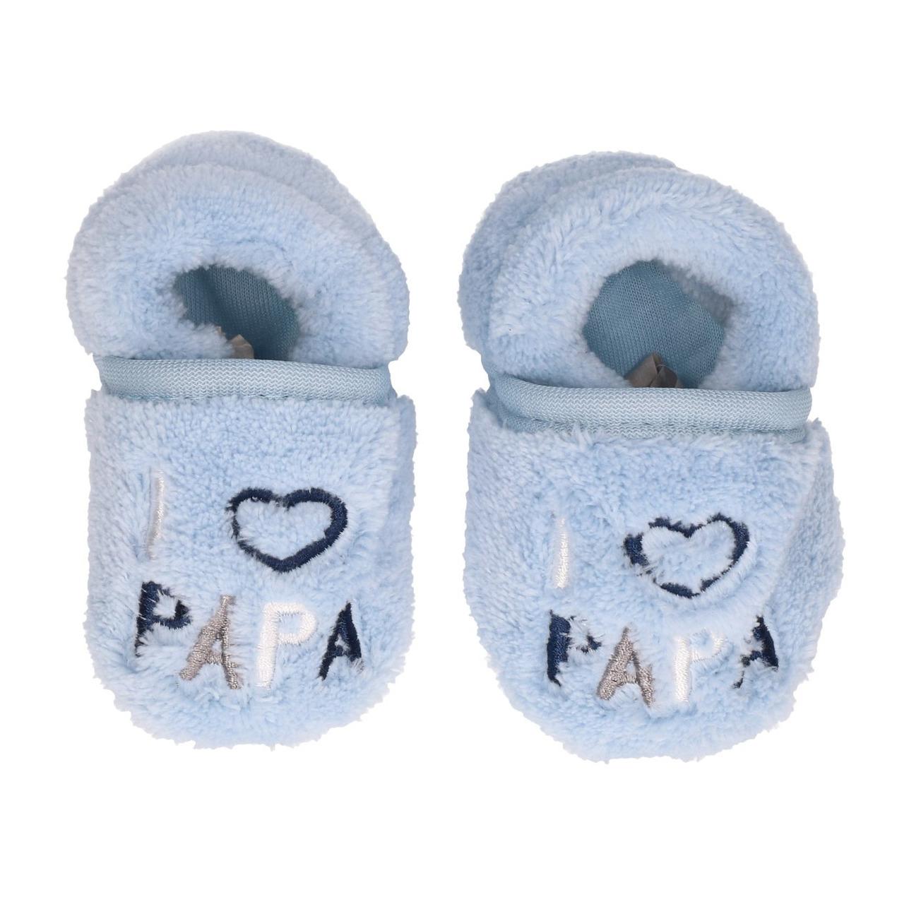 Afbeelding Kraamkado babyslofjes blauw I love papa door Animals Giftshop
