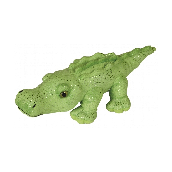 Krokodillen knuffel met glitters 30 cm