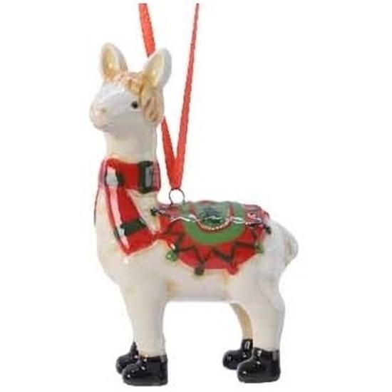 Afbeelding Lama/alpaca kerstornamenten kersthangers 9 cm door Animals Giftshop