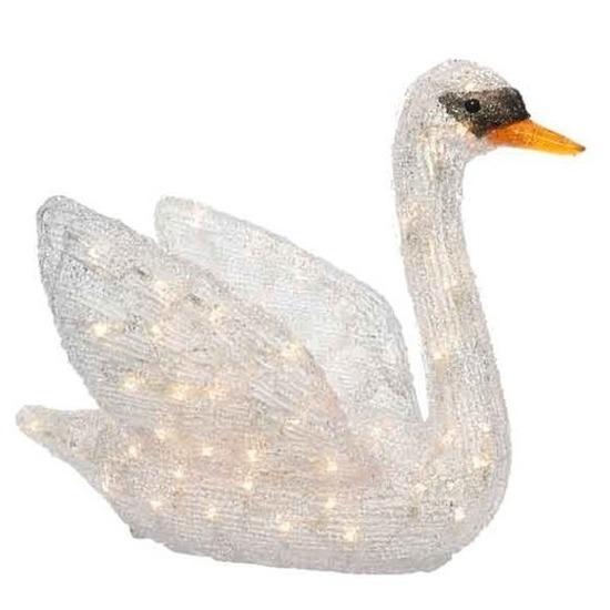 LED acryl figuren witte zwaan 49 cm