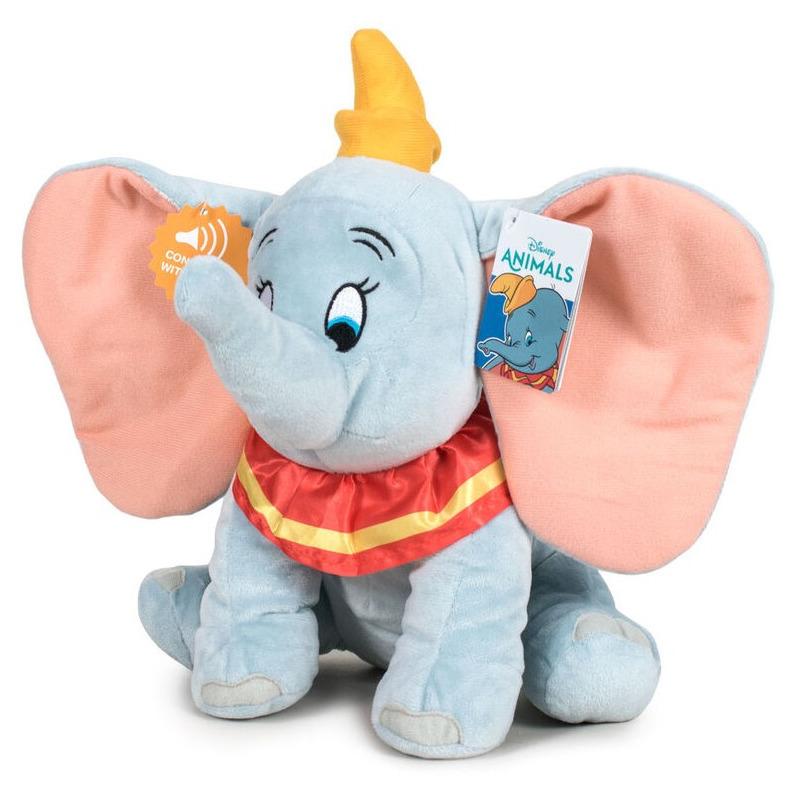 Lichtblauwe pluche Disney Dumbo/Dombo olifant knuffel met geluid 30 cm knuffeldieren