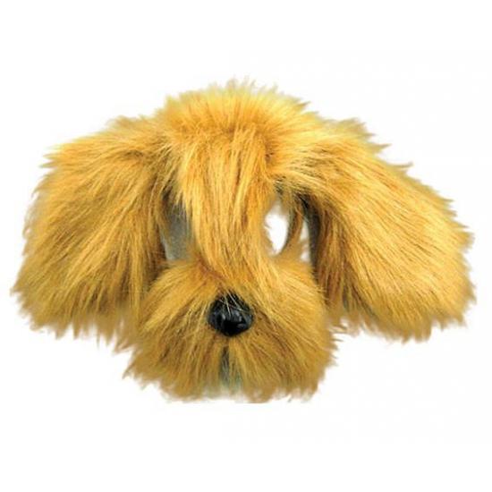 Lichtbruine hond masker met vacht