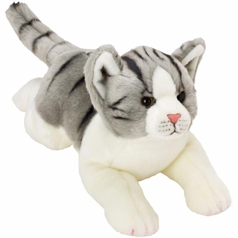 Liggende katten/poezen knuffel grijs/wit 33 cm