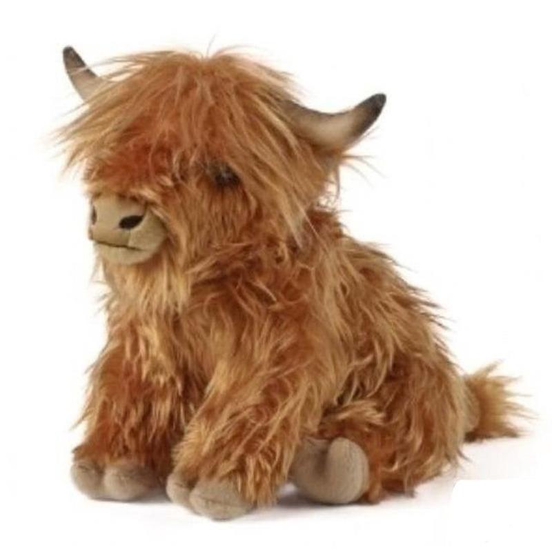 Loeiende pluche Schotse hooglander koe bruin knuffel 30 cm knuffeldieren