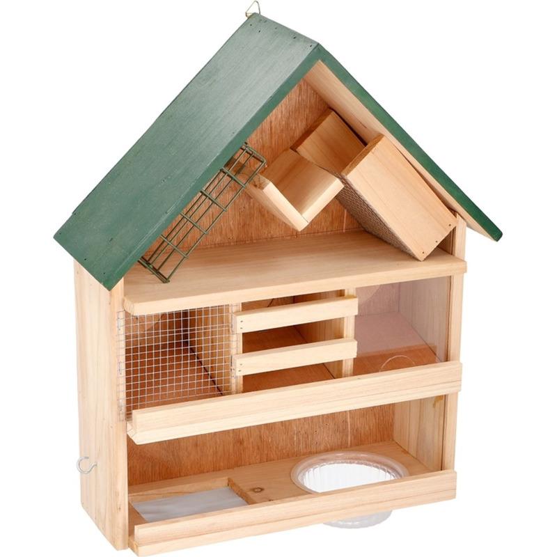 Luxe vogelvoederhuis / vogelhuis hout 44 x 39 x 13 cm