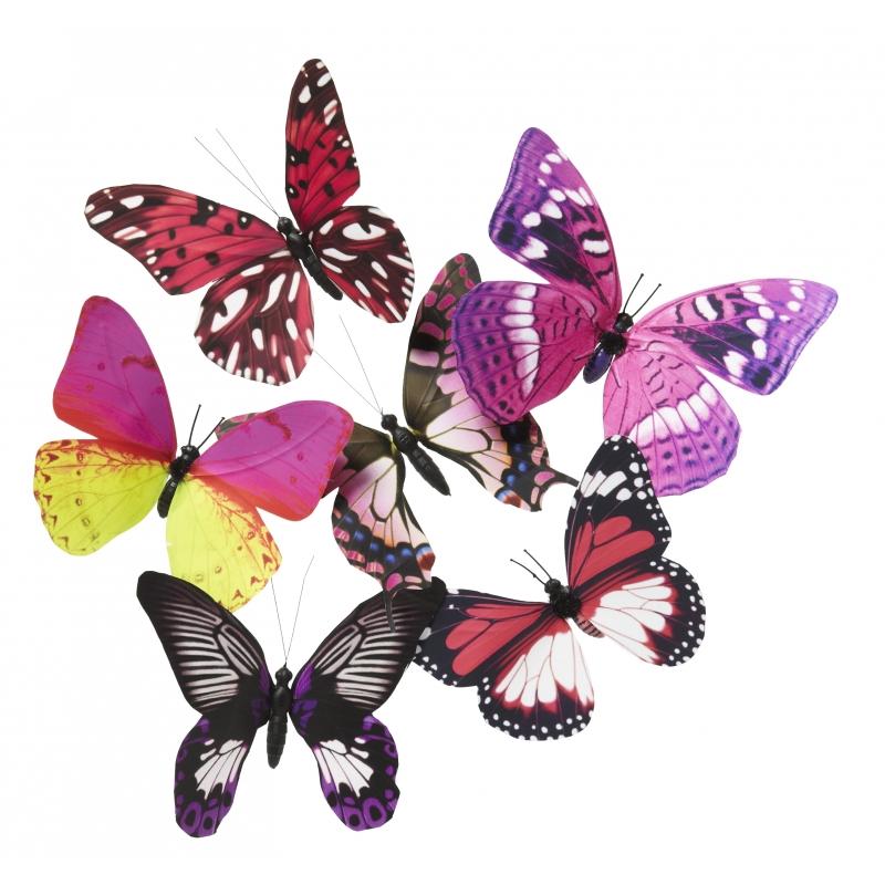 Magneet vlinder roze/paars 13.5 cm