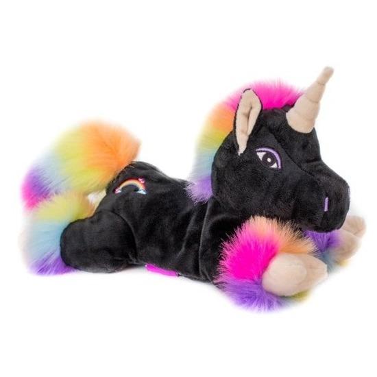 Magnetron knuffel zwarte unicorn 18 cm