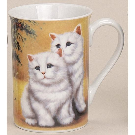 Melkbeker met katten geel 10 cm