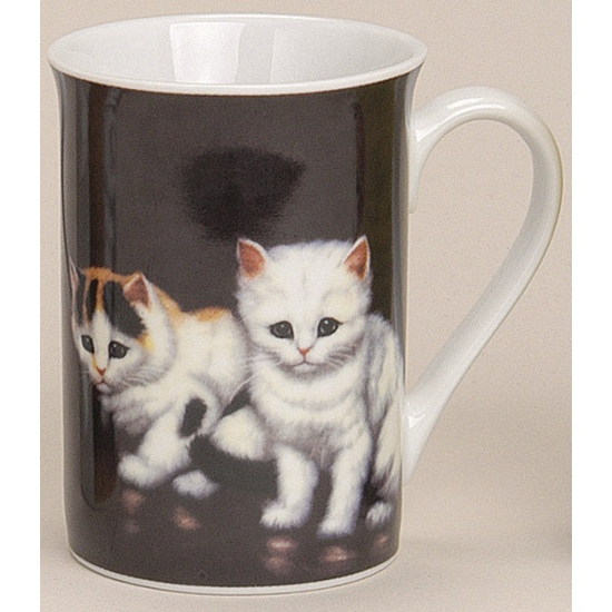 Melkbeker met katten zwart 10 cm